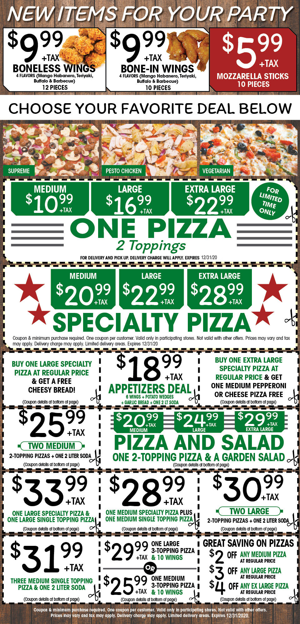 Via Mia Pizza Coupons Expiring Dec. 31, 2020